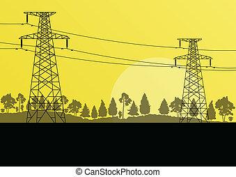 potencia, naturaleza, electricidad, alto, campo, vector, voltaje, plano de fondo, torre, línea, paisaje, bosque