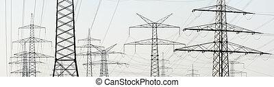 potencia, pilones, suministro, eléctrico, muchos, panorama