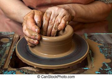 Potter crea una jarra en una rueda de cerámica