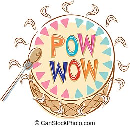 pow, tambor, wow, ilustración