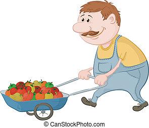 pp de drive, vegetales, hombres, camión