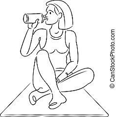 prácticas, water., bebidas, joven, estera, yoga, mujer