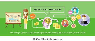 práctico, entrenamiento, concepto