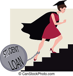 préstamo, estudiante, carga
