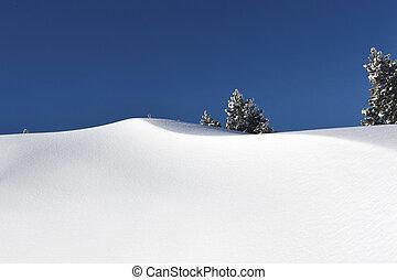 prístino, montaña, nieve