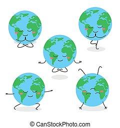 practicar, divertido, tierra, caricatura, carácter, planeta, yoga