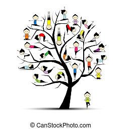 Practico yoga, concepto de árbol para tu diseño
