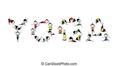 Practico yoga, concepto para tu diseño