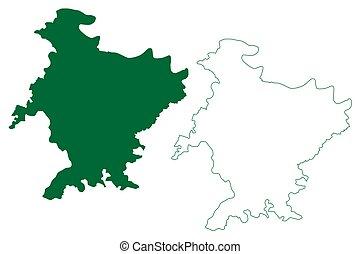 pradesh, india), bosquejo, garabato, república, mapa, estado, vector, (uttar, distrito, ilustración, banda