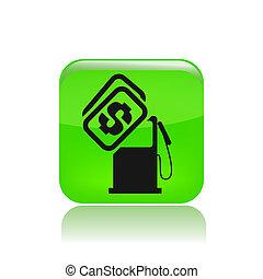 precio, aislado, ilustración, solo, vector, combustible, icono