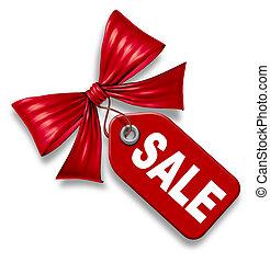 precio, venta, arco, etiqueta, cinta, corbata, rojo