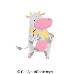 Preciosa vaca bebiendo leche con paja, divertido dibujo animado de animales de granja vector de caracteres de ilustración en un fondo blanco