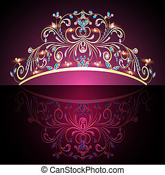 precioso, oro, tiara, womens, piedras, corona