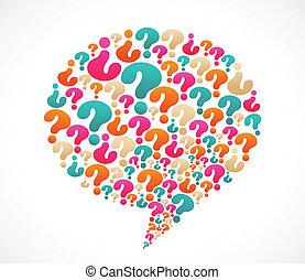 pregunta, discurso, marca, burbuja, iconos