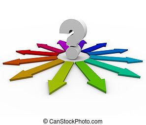 pregunta, muchos, -, flechas, elecciones, marca