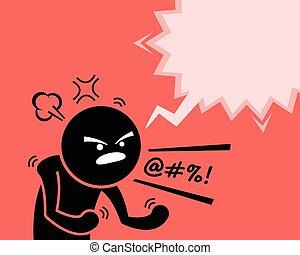 preguntar, hombre, enojado, el suyo, insatisfacción, muy, rabia, cólera, why., expresar