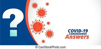 preguntas, apoyo, respuestas, bandera, covid-19, ayuda, coronavirus, o