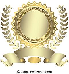 Premio plateado con cinta (vector)