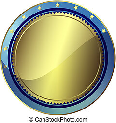 Premio plateado y azul (vector EPS 10)