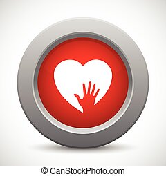 Preocupado botón rojo de mano