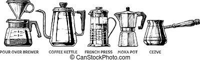 preparación, conjunto de café