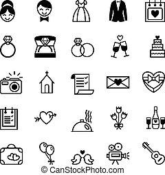 preparación, iconos, boda