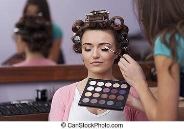 preparación, peluquero, artista, maquillaje