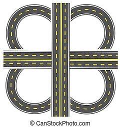 Preparada para construir un intercambio de transporte. Autopista con marcas amarillas. Ilustración
