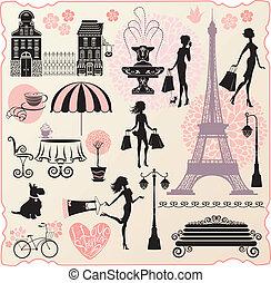 Preparada para moda o diseño al por menor - Torre Effel, casas, corazón con textos caligráficos I Love Shopping, chicas siluetas con bolsas de compras