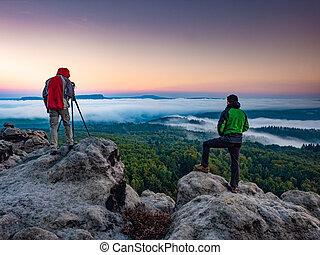 preparado, montañas, fotógrafo, cuadros, toma