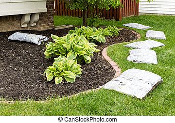 Preparando para acrecentar el jardín en primavera