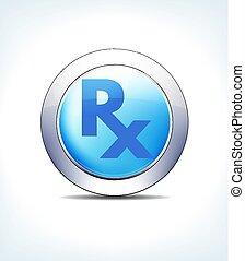 prescripción, atención sanitaria, símbolo, pálido, botón, y, icono, receta, farmacéutico, rx, azul