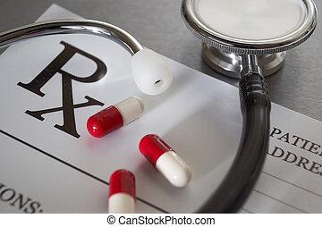 Prescripción de RX y estetoscopio