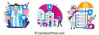 prescripción, salud, theme., conjunto, familia , medicines., ilustraciones, insurance., médico