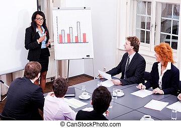 Presentación de conferencias de negocios con entrenamiento de equipo