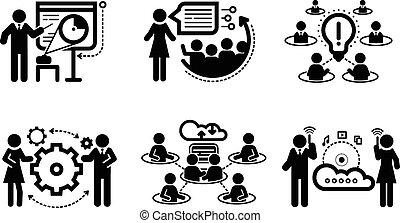 Presentación de trabajo en equipo iconos conceptuales