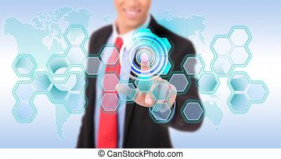 Presionando el botón digital en la interfaz de pantalla de contacto