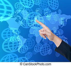 Presionando el botón global en una interfaz de pantalla de toque