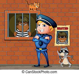 preso, cárcel, policía