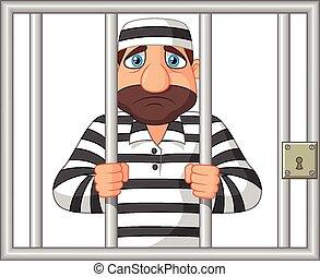 preso, caricatura, atrás, barra