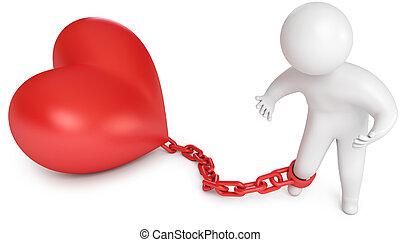 preso, hombre, adore corazón, encadenado