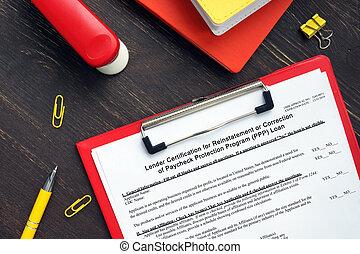 prestamista, certificación, préstamo, programa, forma, o, reinstatement, protección, sba, corrección, (ppp), sueldo