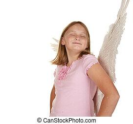 presumido, niña, hada, alas, ángel