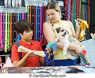 preteen, ropa, perro, compra, hijo, mujer, afortunado