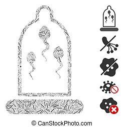 prevención, condón, mosaico, icono, esperma, escotilla