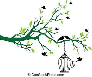 primavera, árbol, aves, jaula
