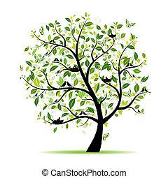 primavera, árbol, su, verde, diseño, aves