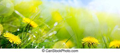 Primavera de arte abstracto o fondo de verano con hierba fresca y flor de primavera