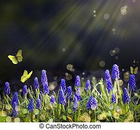 primavera, florecimiento, arte, praderas