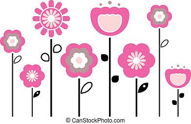 primavera, flores blancas, aislado, retro